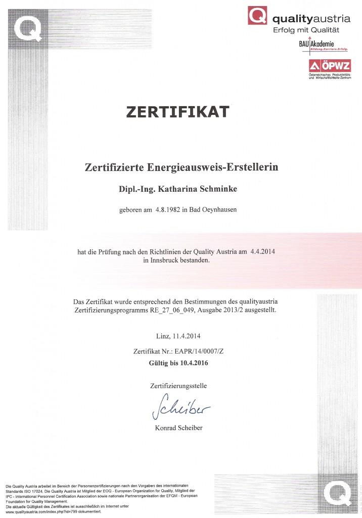 Zertifikat Energieausweis Erstellung Katharina Schminke